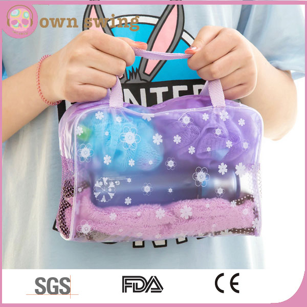 Multipurpose Waterproof Floral Clear PVC Comestic Makeup Bag/Storage Travelling Bath Bag/Wash Bath Bag