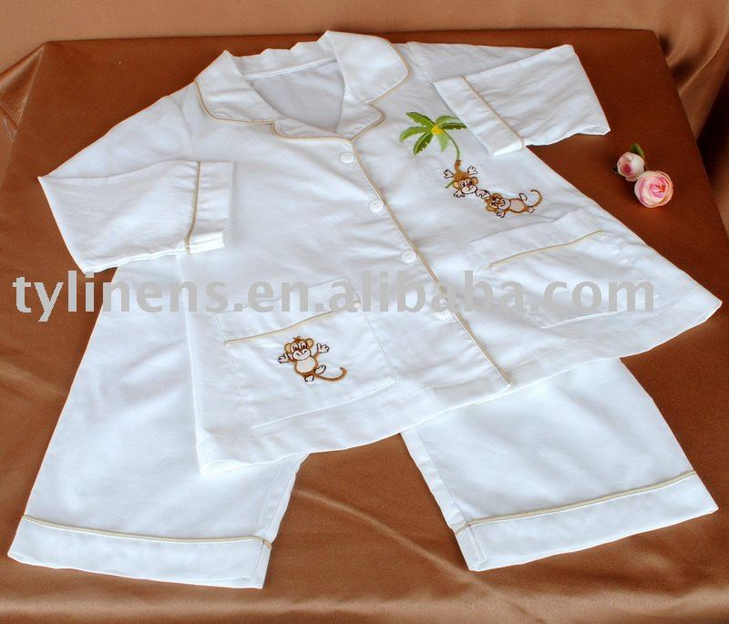 Cotton embroidery boy pajamas