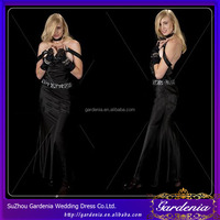 2014 Hot Selling Sexy Black Evening Gown Striptease Halter A-line Spaghetti Strap Long Beading Appliques Taffeta Evening Dress