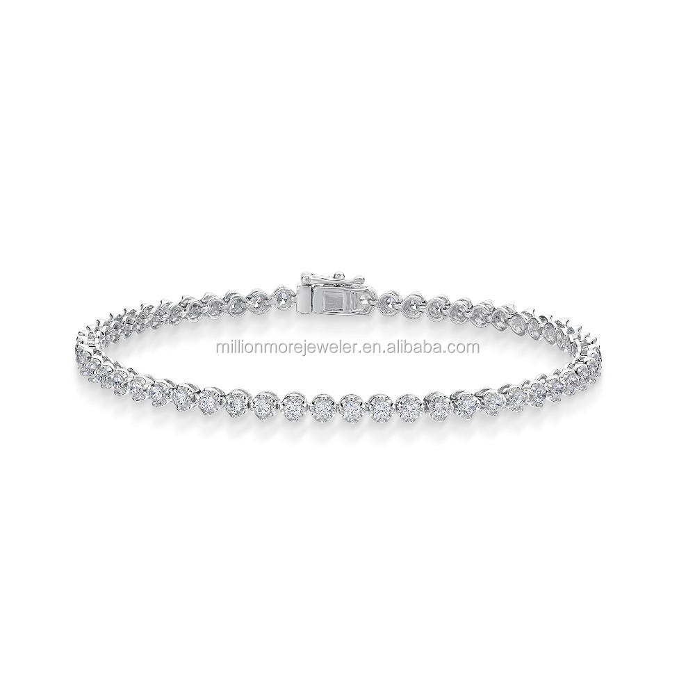 Silver with Cubic Zirconia Tennis Bracelet
