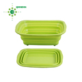 Silicone Collapsible Food Storage Container with Plastic Lid, Spoon and Fork/Lunch Box