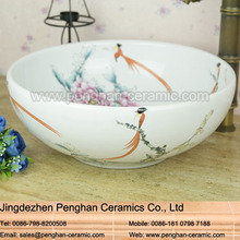 Jingdezhen hand painted handmade cheap bathroom ceramic bowl shape basin sink