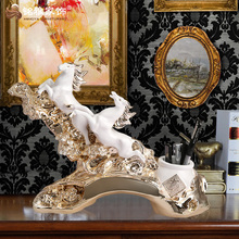 Office desk decoration centerpieces antique running horse for business gift resin animal figurines