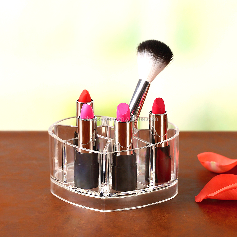 Clear acrylic cosmetic organizer Heart-shaped Mini lipsticks holder
