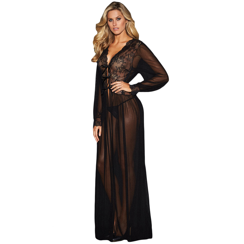 Wholesale Sexy Sleepwear Black Sheer Long Sleeve Lace Night Gown For Woman