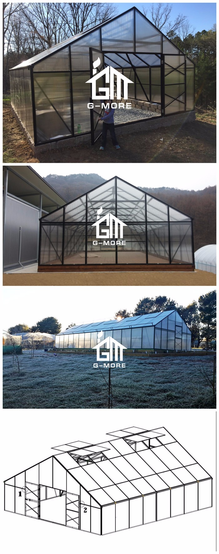 G-MORE High Grade Grand Commercial Greenhouse 23'x33' / 7M Wide Agricultural Greenhouse For Garden Center