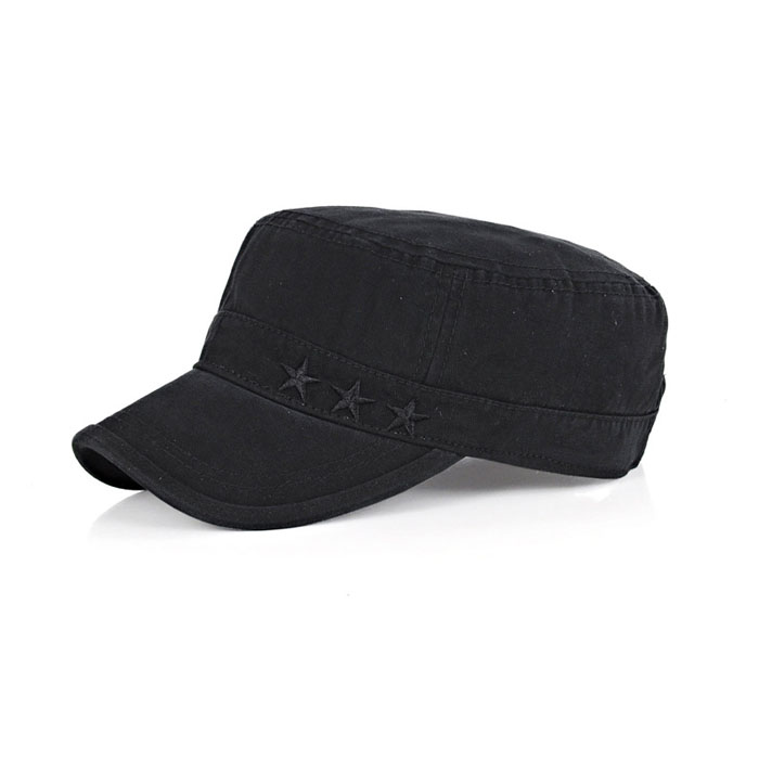 Stone washed military cap black military peaked cap