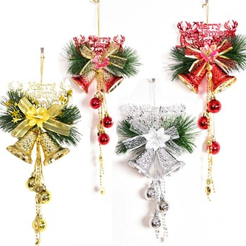 Wholesale 4 colors plastic jingle bells with branches for Christmas tree