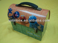 Lovely house shaped metal carrying tin case with plastic handle