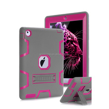 Fashion Shockproof Silicone Rubber 3in1 Hybrid Armor Kids Safe Cases Cover for ipad with Kickstands