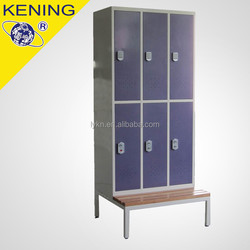 Changing room 6 Compartment Locker with iron bench