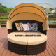 Wicker Outdoor Garden Patio Round Day Bed Furniture Lounger Sofa Table & Retractable Sun Canopy Set Rattan Daybed