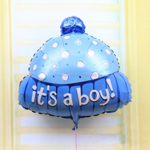 New hat shape first birthday boy suplies foil balloon