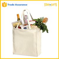 Custom Plain White Cotton Shopping Tote Bag With Reinforced Handles