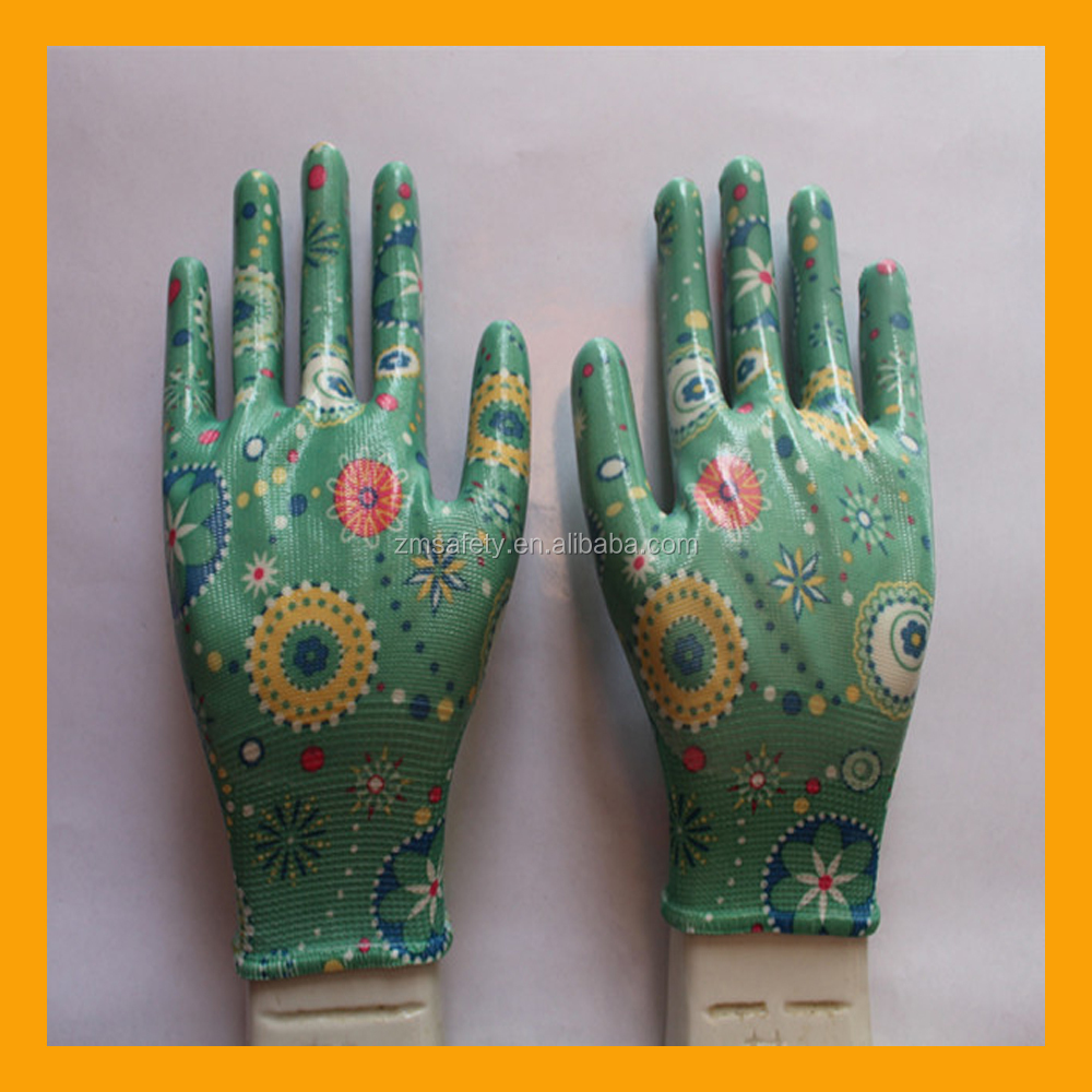 Polyester Printing Transparent Nitrile Palm Coated Garden Working Gloves