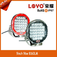 Hot new strong power headlight 9inch 96w led work light offroad ATV Trucks 8160lms for big sale
