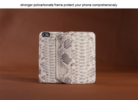 Handmade beige python leather wallet case for iphone 6