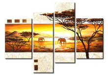 Oil Painted elephant painting in african on canvas for wall decoration