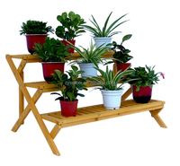 Custom 3-Tier Wooden Step Plant Stand, Decoration Pots Holder
