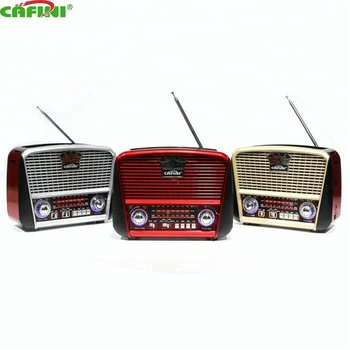 Classic Wooden Retro Radio Portable Handle AM/FM /SW 3 Band BT Radio with USB/TF card