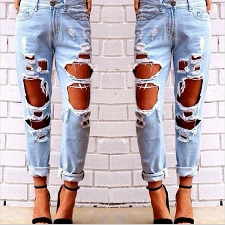 Wholesale Bangkok Raw Denim Ripped Torn Sexy Jeans For Crazy Age Women