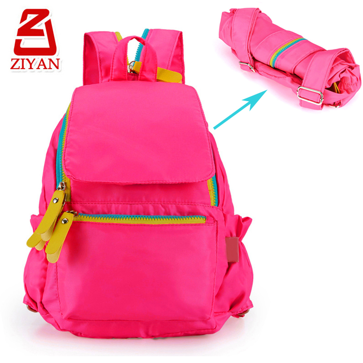 Waterproof fashion backpack for elementary school, unzipper 1 to 2 shoulder strap foldable school bag for primary kids