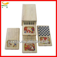 new design wooden chess set 4 in 1 wooden multi game box