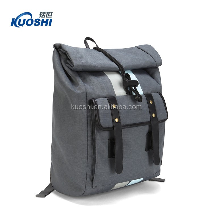 Canvas leather backpack bag for men