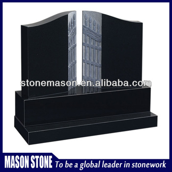 Shanxi black granite unique headstone for cemetery for sale