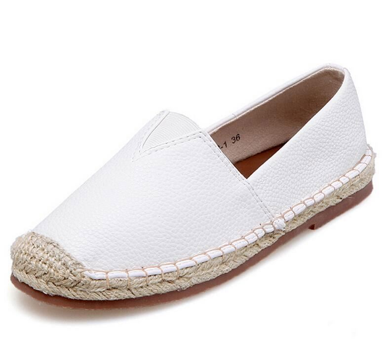 High quality flat women loafer fisherman ladies white shoes