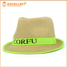 Bulk Quantity Custom Straw Fedora Hat With Logo Printed