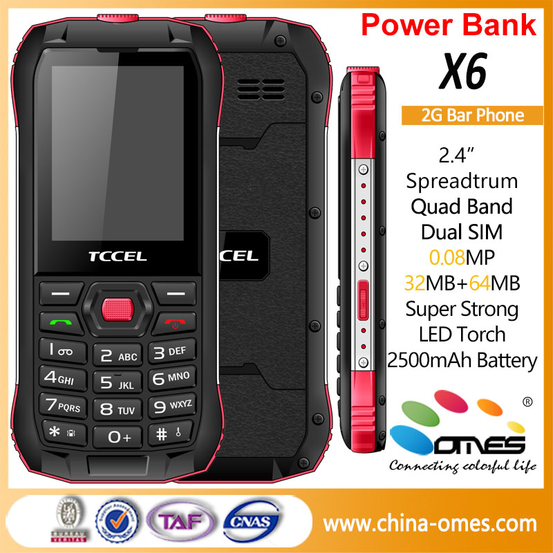 OEM X6 2.4 inch GSM 850/900/1800/1900MHz mobile phone with power bank