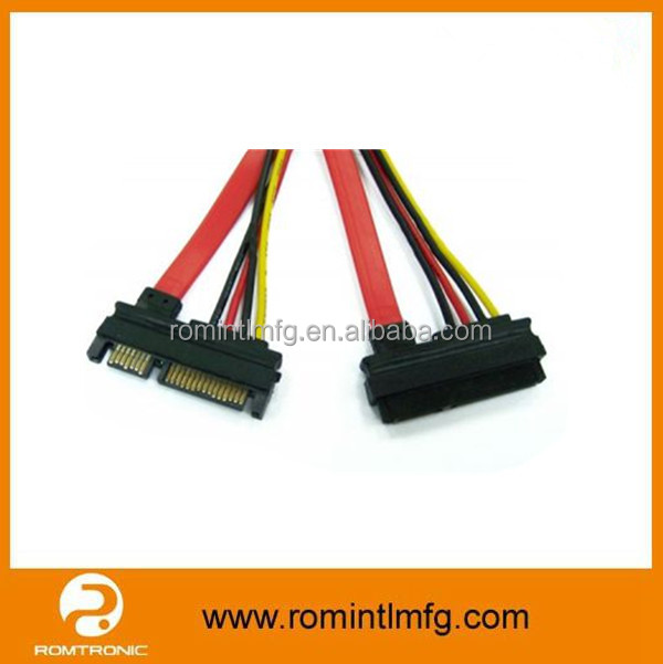 Good quality slim power sata 22pin cable AM to AF