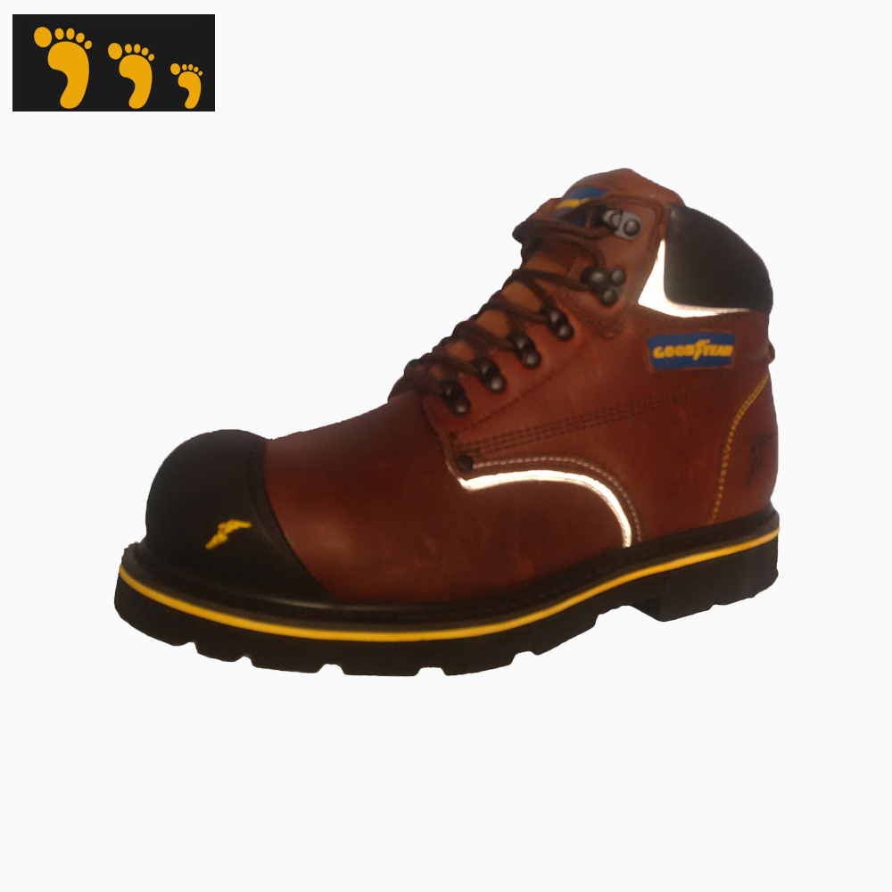 natural leather anti-slip industry working boots shoes with safety materials