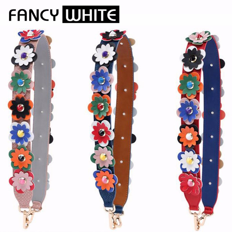 Adjustable ladies wide contrast colored flower replacement leather purse strap