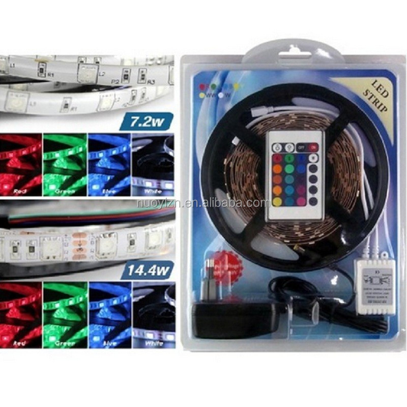 Christmas Led Strip Lighting 5M 5050 RGB 300LEDs Flexible Color Changing Full Kit with 24 Keys IR Remote Controller