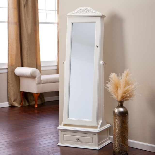 Living Removable Decorative Top Locking Mirrored Cheval Jewelry Armoire