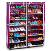 SW Double Rows 8 layers FABRIC WARDROBE RAIL CLOTHES STORAGE SHELF CLOTH RACK SHELVES Simple Dustproof shoe rack