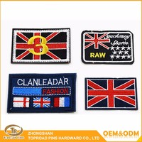 Top quality professional craft process personized embroidery patch wool custom flag embroidery patch