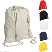 various color blank plain cotton drawstring backpack bag
