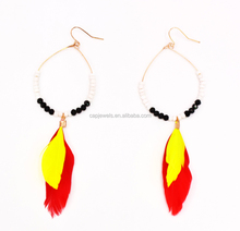 Alloy drop earring with feather design and acrylic beads