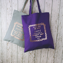 wholesale customizable gray purple letter print tote bag ladies' canvas handbag at low price