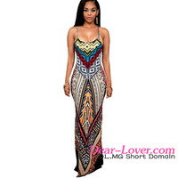 Women Latest Multi-color Ethnic Print Backless Maxi sexy indian cheap prom dresses