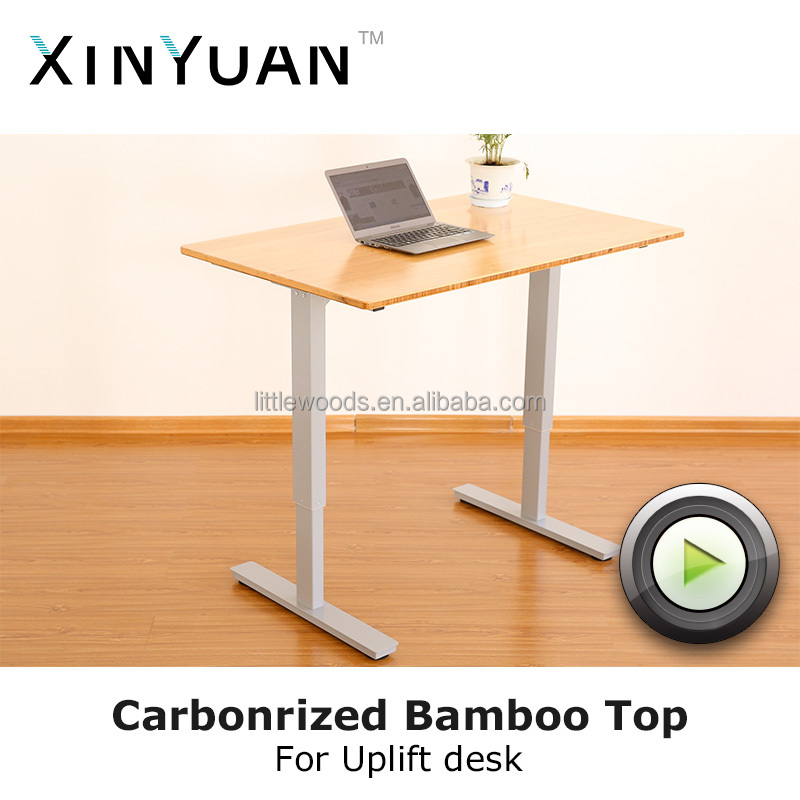 China standing height office computer desk bamboo desk top supplier