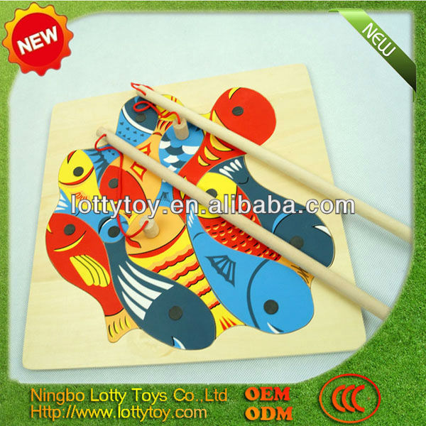Magnetic wooden fish toy for kids