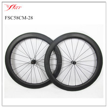 FSC58CM-28 farsports 58mm carbon bike wheels 28mm wide clincher road carbon bike wheelset 20/24 holes with DT 350s hub