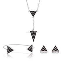 triangle necklace earring bangle set jewelry without stone