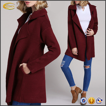 Ecoach new latest design autumn winter long sleeve wine lapel collar European American style women casual outwear fashion coat