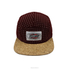 Custom 5 panel Snapback Cap with cork brim and with printing pattern .