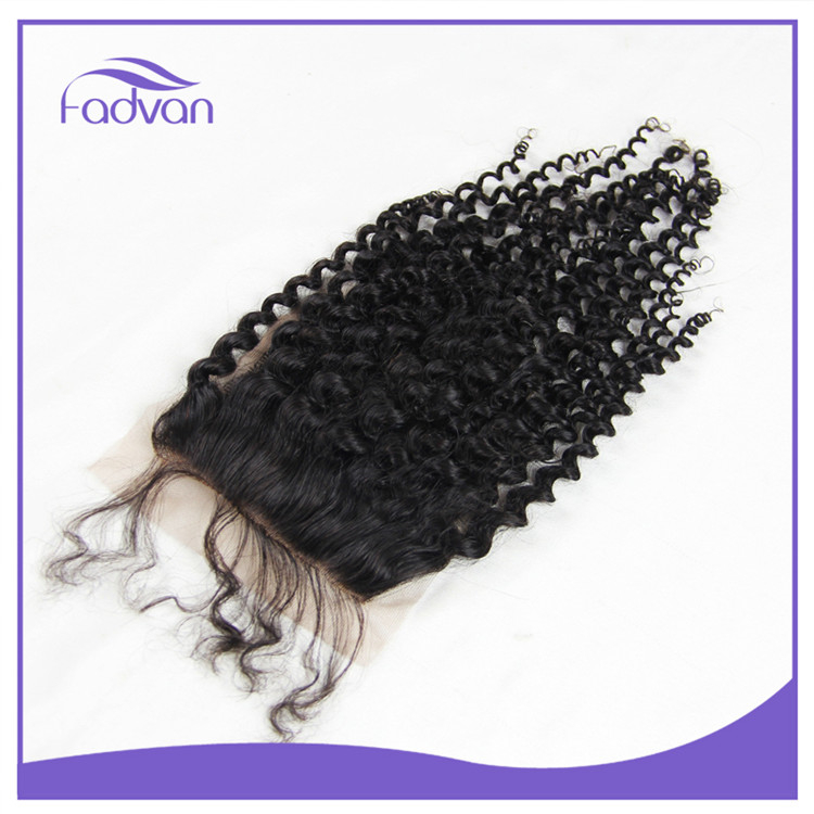 Natural color 100 human hair 4*4 inch straight/body/kinky wave Brazilian virgin hair curly lace frontal closure